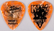 KISS Guitar Pick - KISS Kruise V Night 1 Show 10/31/15, Gene Simmons, (orange pearloid)