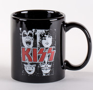KISS Coffee Mug - White Faces, Red Logo
