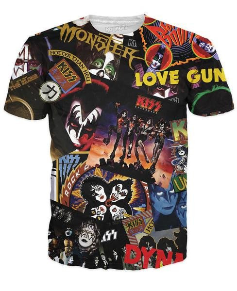 a26929c35 KISS T-Shirt - Discography, (double-sided, all-over print) - KISS Museum