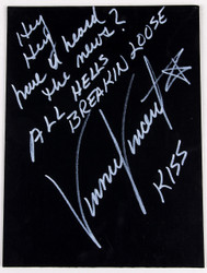 Vinnie Vincent Autograph - Black Canvas Art Board, All Hell's Breakin' Loose, (17/50, white)