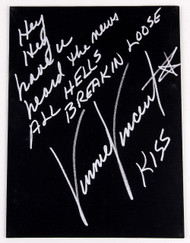 Vinnie Vincent Autograph - Black Canvas Art Board, All Hell's Breakin' Loose, (2/50, silver)