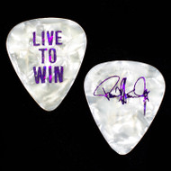 Paul Stanley Guitar Pick - 2006 Live to Win Solo Tour, purple on white pearl
