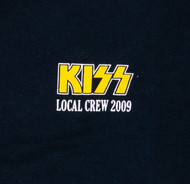 KISS T-Shirt - Roadie Shirt KISS Local Crew 2009 Yellow in White, (Washed and Worn), size XL