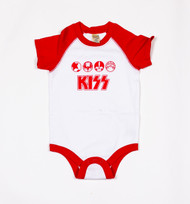 KISS Infant Onesie - White and Red Icons, (SIZE 18 MONTHS)