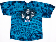 KISS T-Shirt - Blue Tye-die, (Washed and Worn), size XL