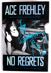 KISS Autograph - Ace Frehley No Regrets Book, (blue marker on cover)