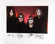 KISS Autograph - Ace, Gene, Peter and Paul signed lithograph, First Album outtake, (539/100), (tape marks on back)
