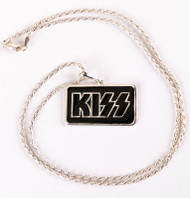 KISS Necklace - Silver on Black Logo