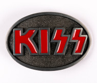 KISS Belt Buckle - Red Logo oval, (unofficial '70s)