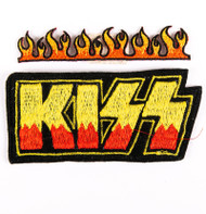 KISS Patch - KISS Logo with Flames, (set of 2)