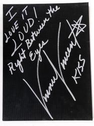 Vinnie Vincent Autograph - Black Canvas Art Board, I Love it Loud, (14/50)