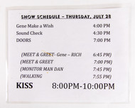 KISS  Laminated Show Schedule