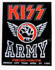 KISS Sticker - KISS Army 1999 Mexico, large 8 x 10""