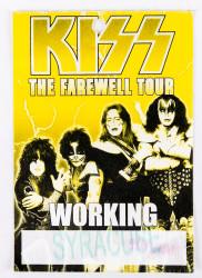KISS Backstage Pass - Farewell Tour Syracuse, yellow