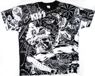 KISS T-Shirt - KISS Comic all-over print, (size XL), washed and worn
