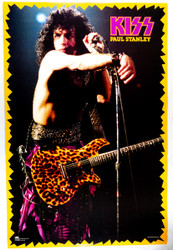 KISS Poster - Animalize 1985, Paul Stanley, Zig Zag yellow border, (pin holes)