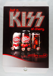 "KISS Dr Pepper Cardboard Store Display, Just a KISS of Cherry, 18"" x 28"""