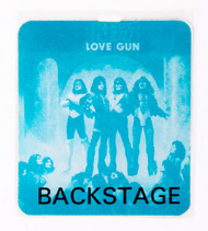 KISS Sticker - Love Gun Backstage Pass blue, (reproduction)