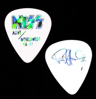 KISS Guitar Pick - Alive Worldwide, Silver Prism on White, Paul