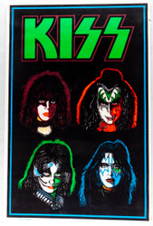KISS Poster - Blacklight, Solo Faces, (tape on back, 7/10)