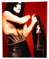 KISS Photo - 8 x 10 Red Room, Paul Bandit Make-up 1973, (Jacket off)