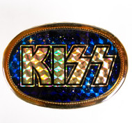 KISS Belt Buckle - Logo, Prism on Blue Starfield, 1978.