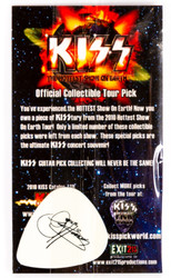 KISS Guitar Pick - Hottest Show on Earth, Gene black on white, (packaged)