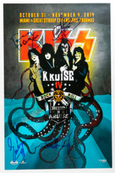 KISS Autographed Poster - Signed by Paul, Gene, Eric and Tommy, KISS Kruise IV