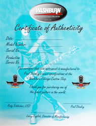 Paul Stanley Washburn Guitars, Blank Certificate of Authenticity