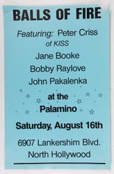 KISS Concert Poster - Peter Criss's band Balls of Fire at the Palamino, 1986