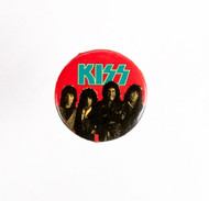 KISS Button - Lick It Up, red background