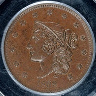 1838 Coronet Head Large Cent PCGS MS63 Brown