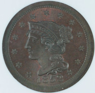 1852 Braided Hair Large Cent  NGC MS66 Brown