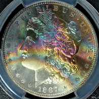 1887 Morgan S$1 PCGS MS66+ CAC Approved RAINBOW TONED