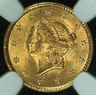 1853 Gold $1 Liberty Type 1 NGC MS64+ CAC Approved
