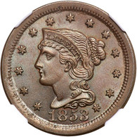 1853 Repunched 1 Braided Hair Large Cent - NGC MS66 BN