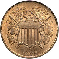 1864 Two Cent, Large Motto. PCGS MS65 Red