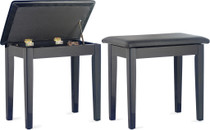 STAGG Highgloss black piano bench with black vinyl top and storage compartment