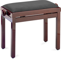 STAGG Highgloss piano bench, mahogany colour, with black velvet top