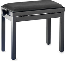 STAGG Matt black piano bench with black ribbed velvet top