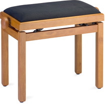 STAGG Matt piano bench, oak colour, with black velvet top