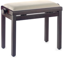 STAGG Matt piano bench, rosewood colour, with beige velvet top
