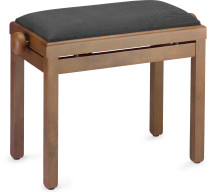 STAGG Matt piano bench, walnut colour, with black velvet top