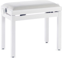 STAGG Matt white piano bench with white velvet top