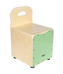 STAGG Basswood kid's cajón with EasyGo backrest, green front board