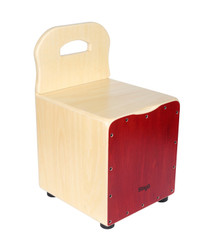 STAGG Basswood kid's cajón with EasyGo backrest, red front board