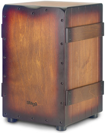 STAGG Standard-sized Crate cajón with sunburst brown finish