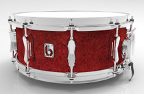 "BRITISH DRUM CO. 14 x 5.5"" Legend snare drum, cold-pressed birch 6 mm shell, Buckingham Scarlett finish"