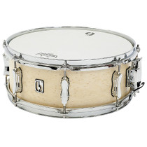 "BRITISH DRUM CO. 14 x 5.5"" Lounge snare drum, mahogany and birch 5.5 mm blended shell, Wiltshire White finish"