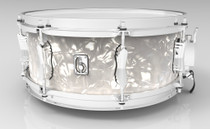 "BRITISH DRUM CO. 14 x 5.5"" Lounge snare drum, mahogany and birch 5.5 mm blended shell, Windermere Pearl finish"
